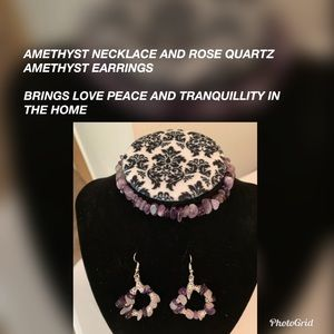 Amethyst Rose Quartz Choker with Earrings